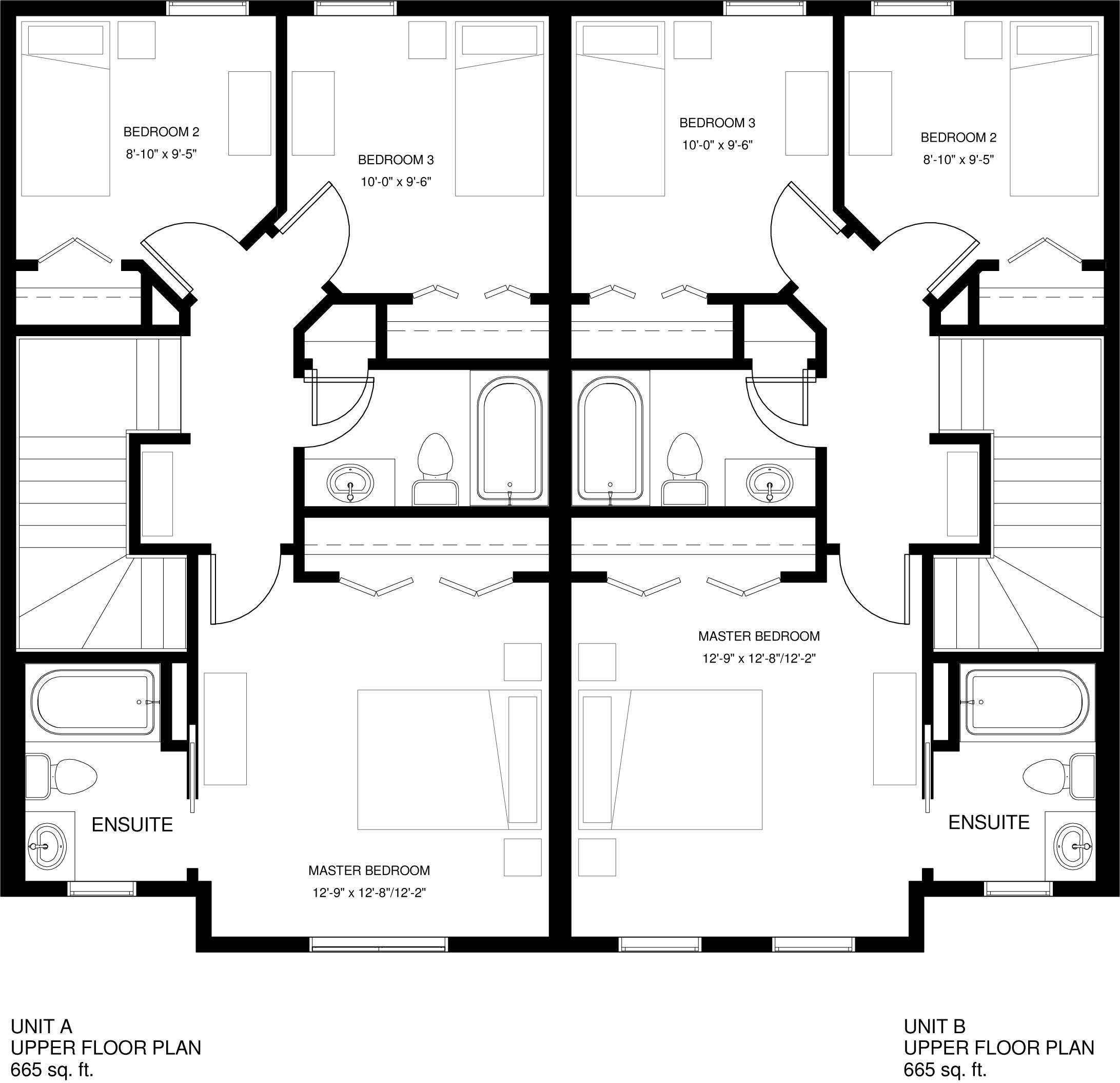 Upper Floor  665 sq ft per Unit
