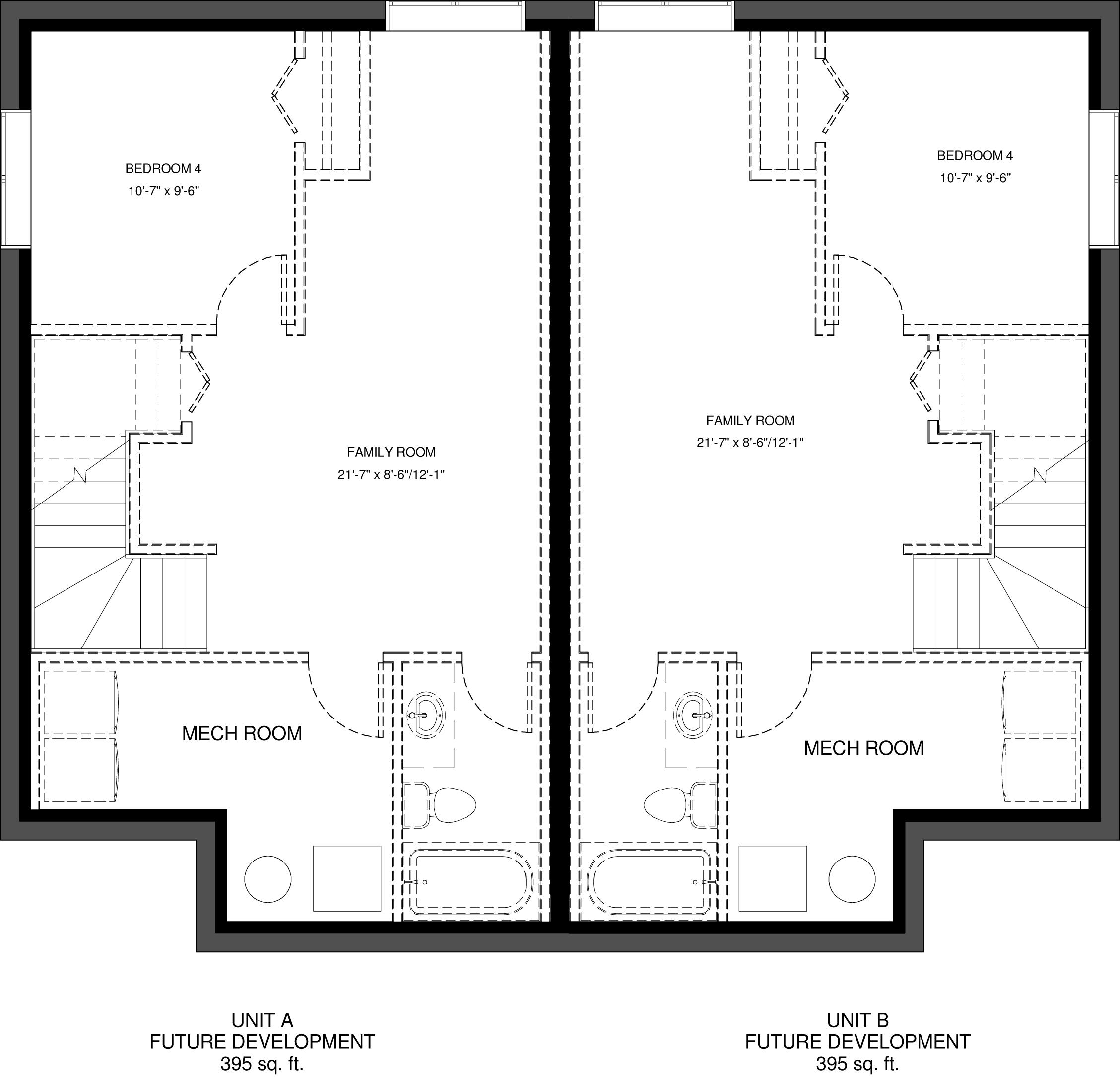 Lower Floor Future Development  395 sq ft per Unit