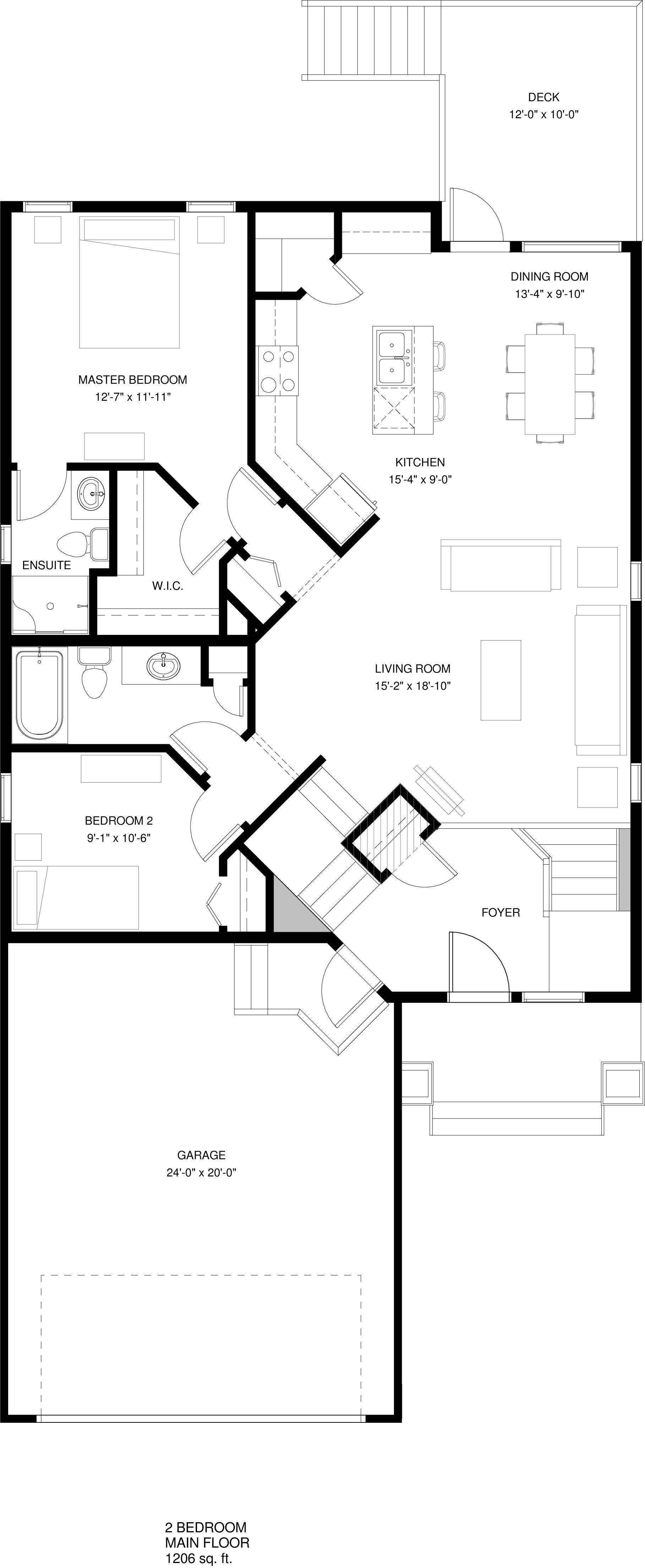 Main Floor  2 Bedroom Option 1206 sq ft