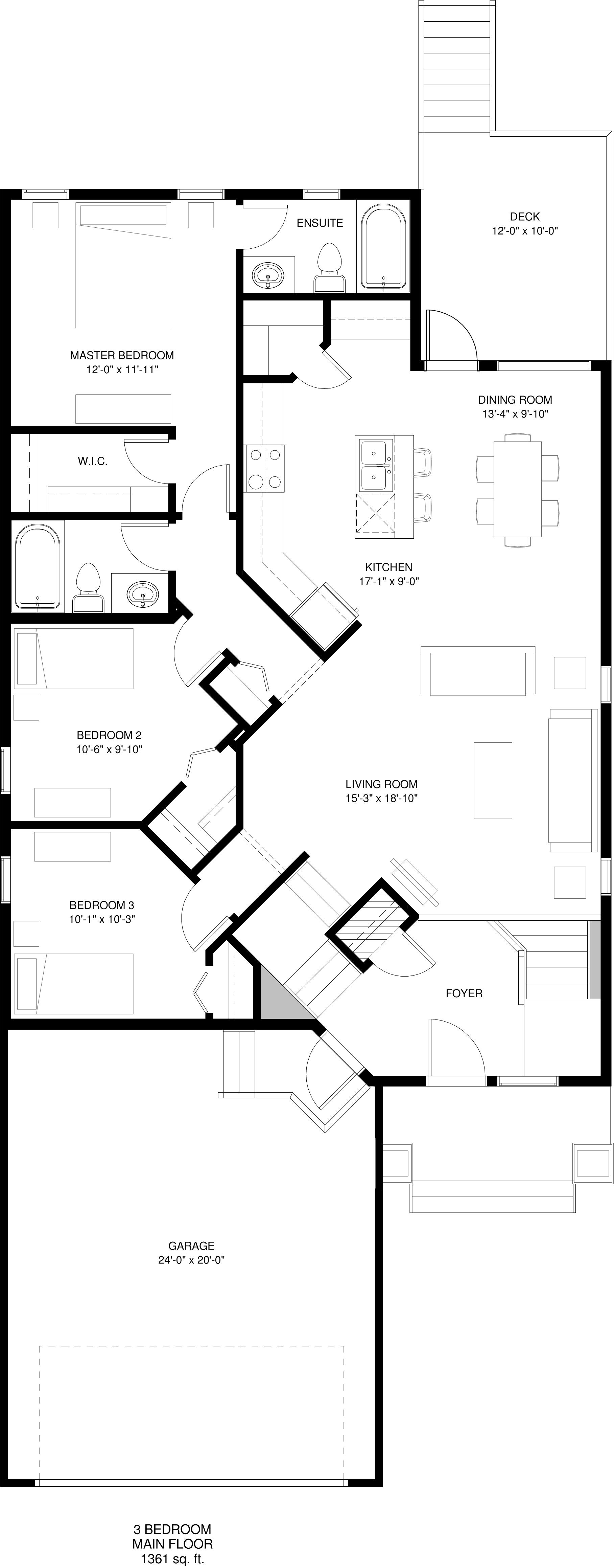 Main Floor  3 Bedroom Option  1361 sq ft