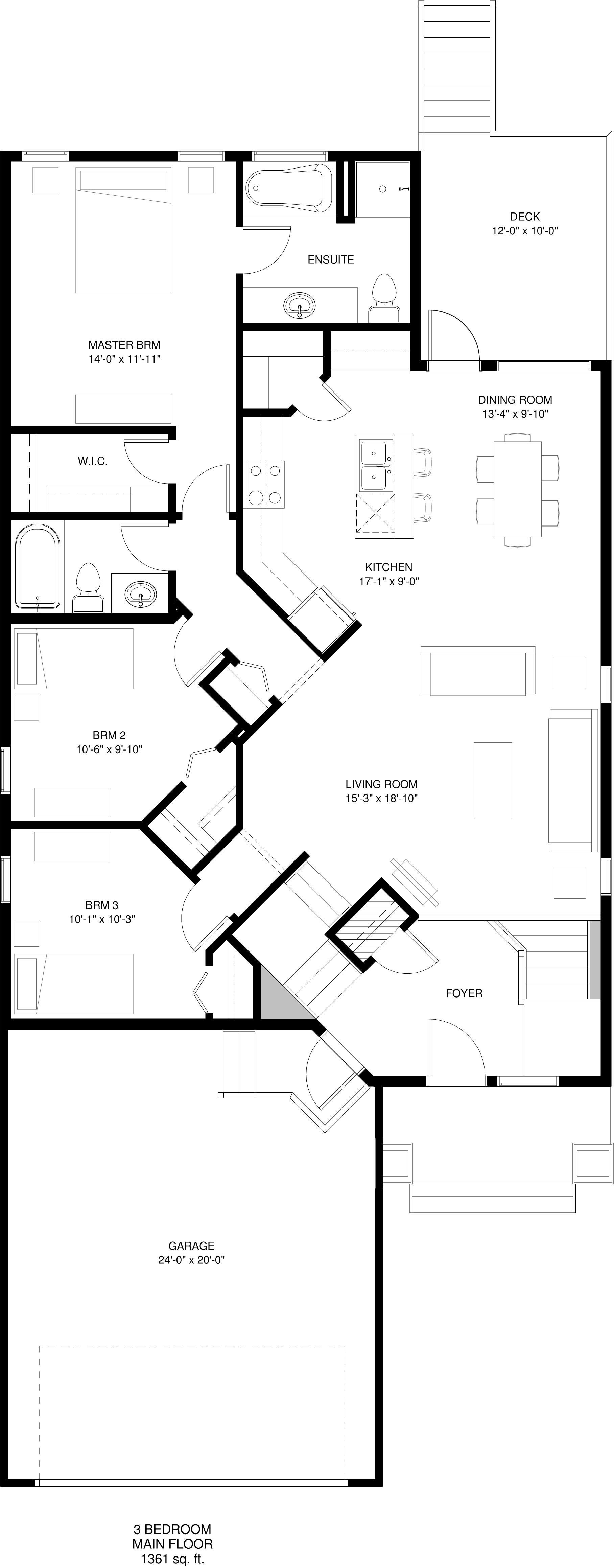 Main Floor  3 Bedroom Optional Ensuite 1361 sq ft