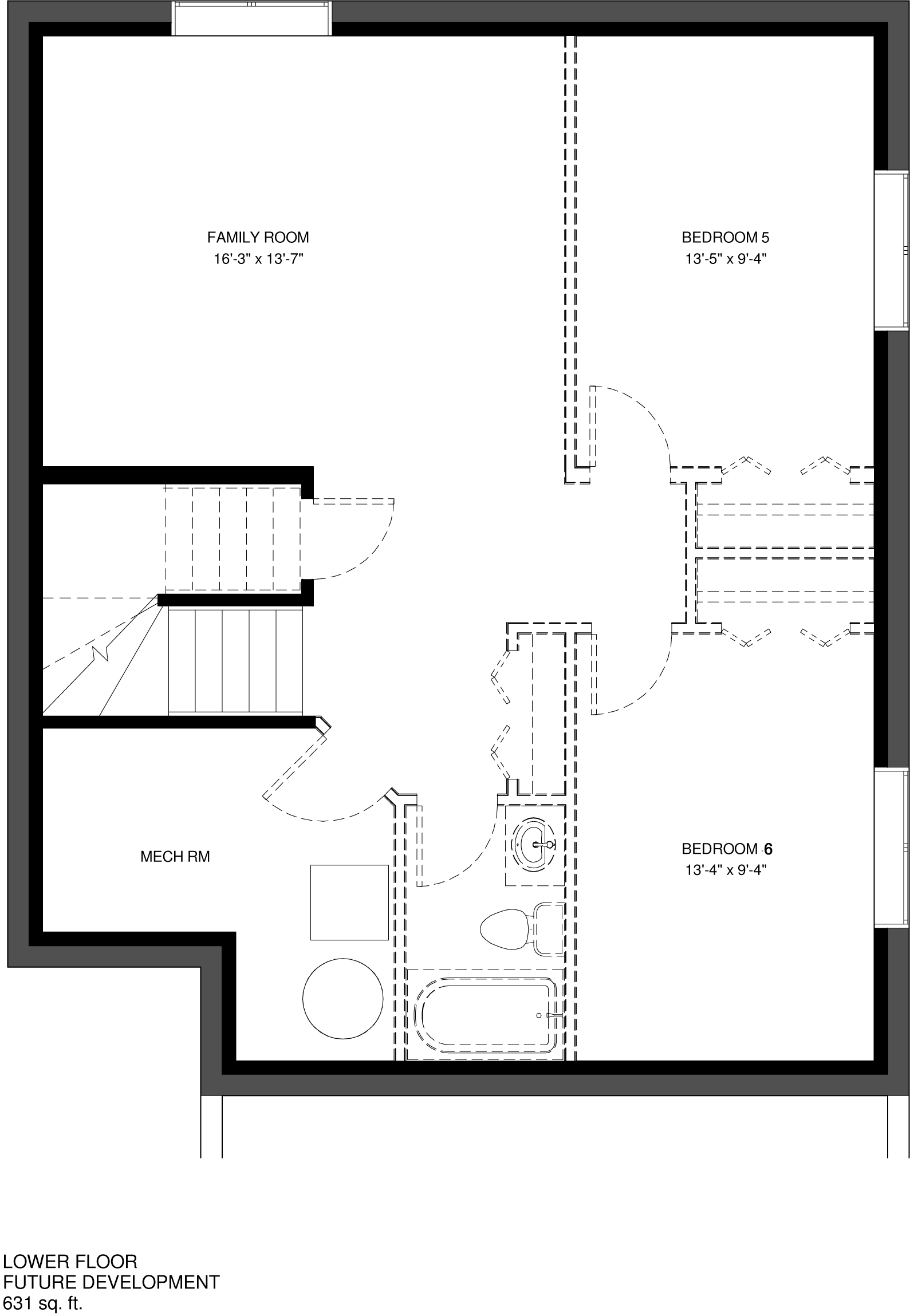 Lower Floor Future Development   631 sq ft