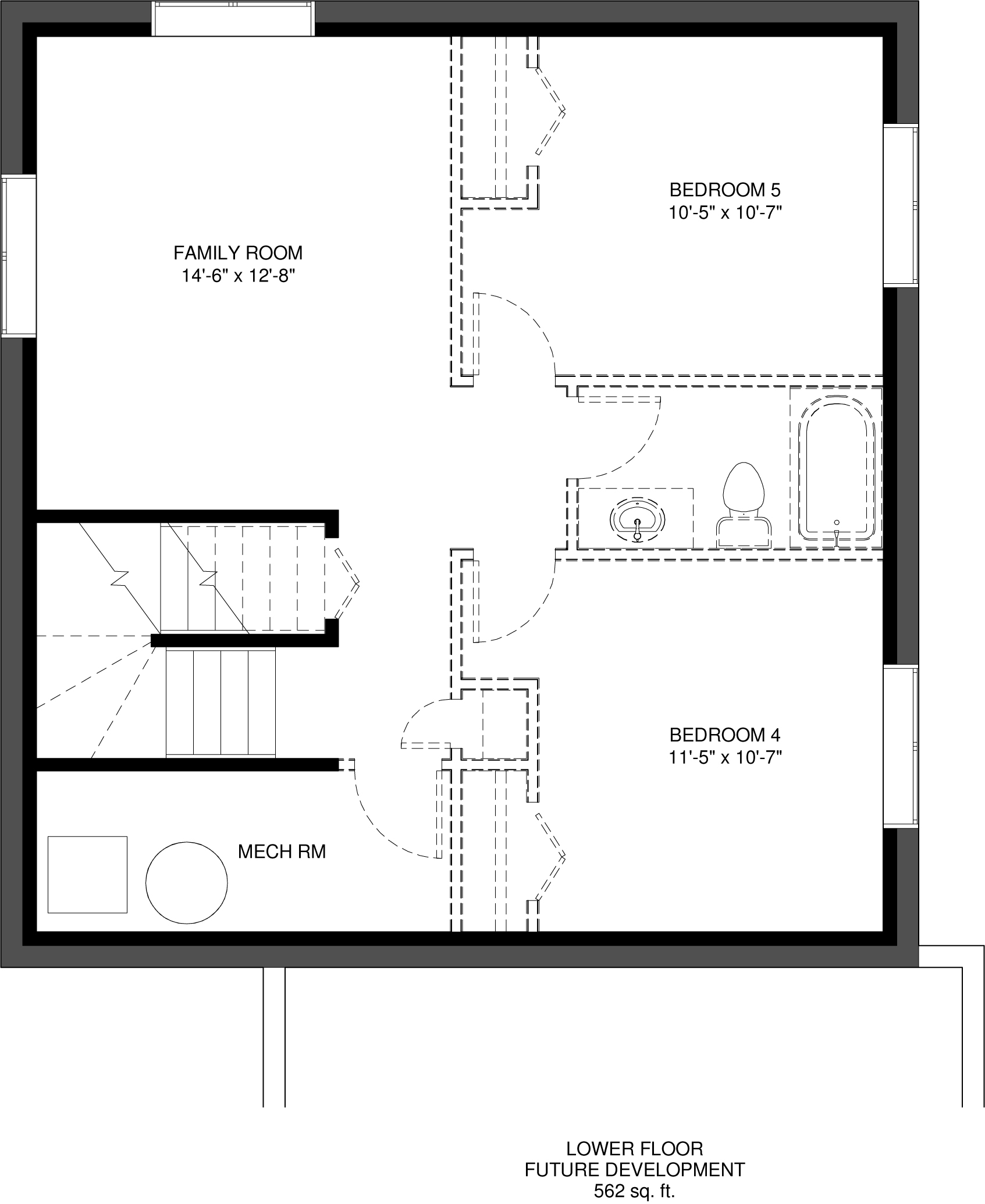 Lower Floor Future Development   562 sq ft