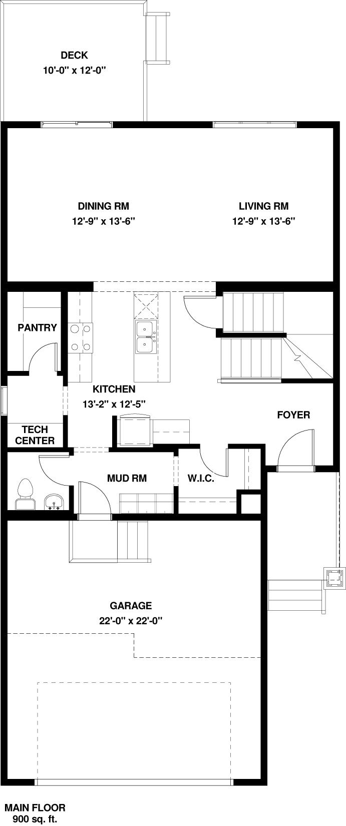 Main Floor   900 sq ft
