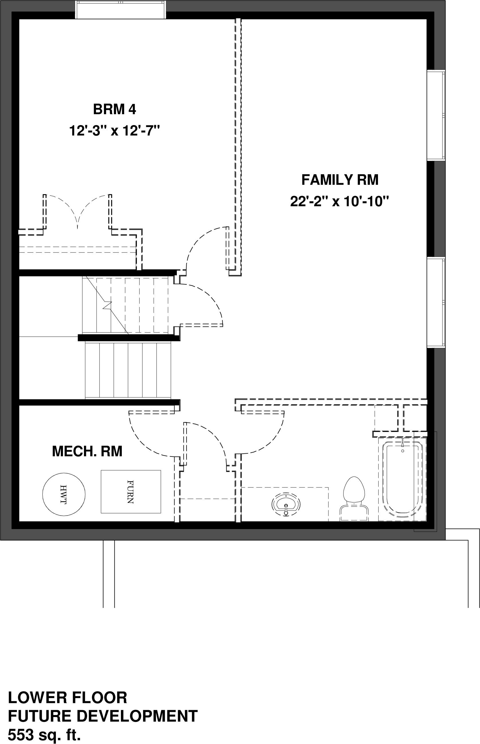 Lower Floor Future Development  553 sq ft