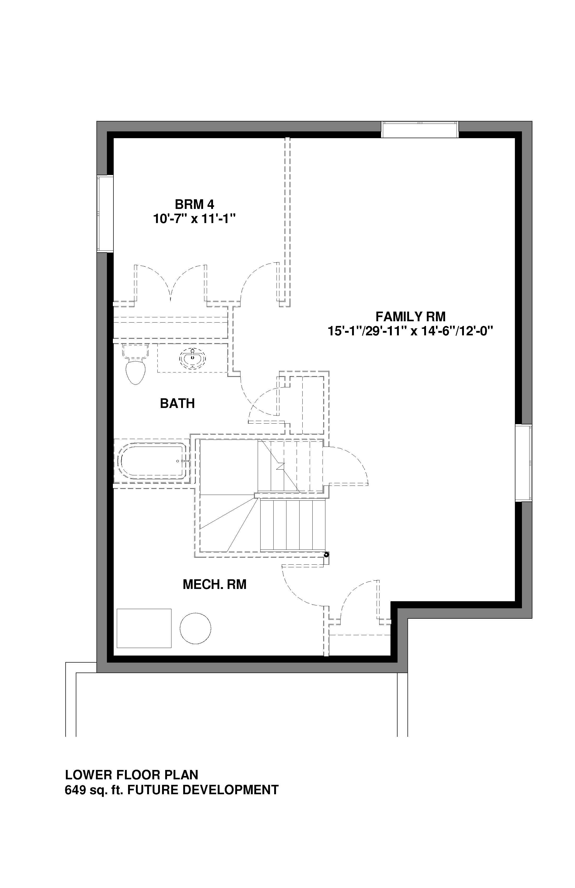 Lower Floor Future Development  649 sq ft