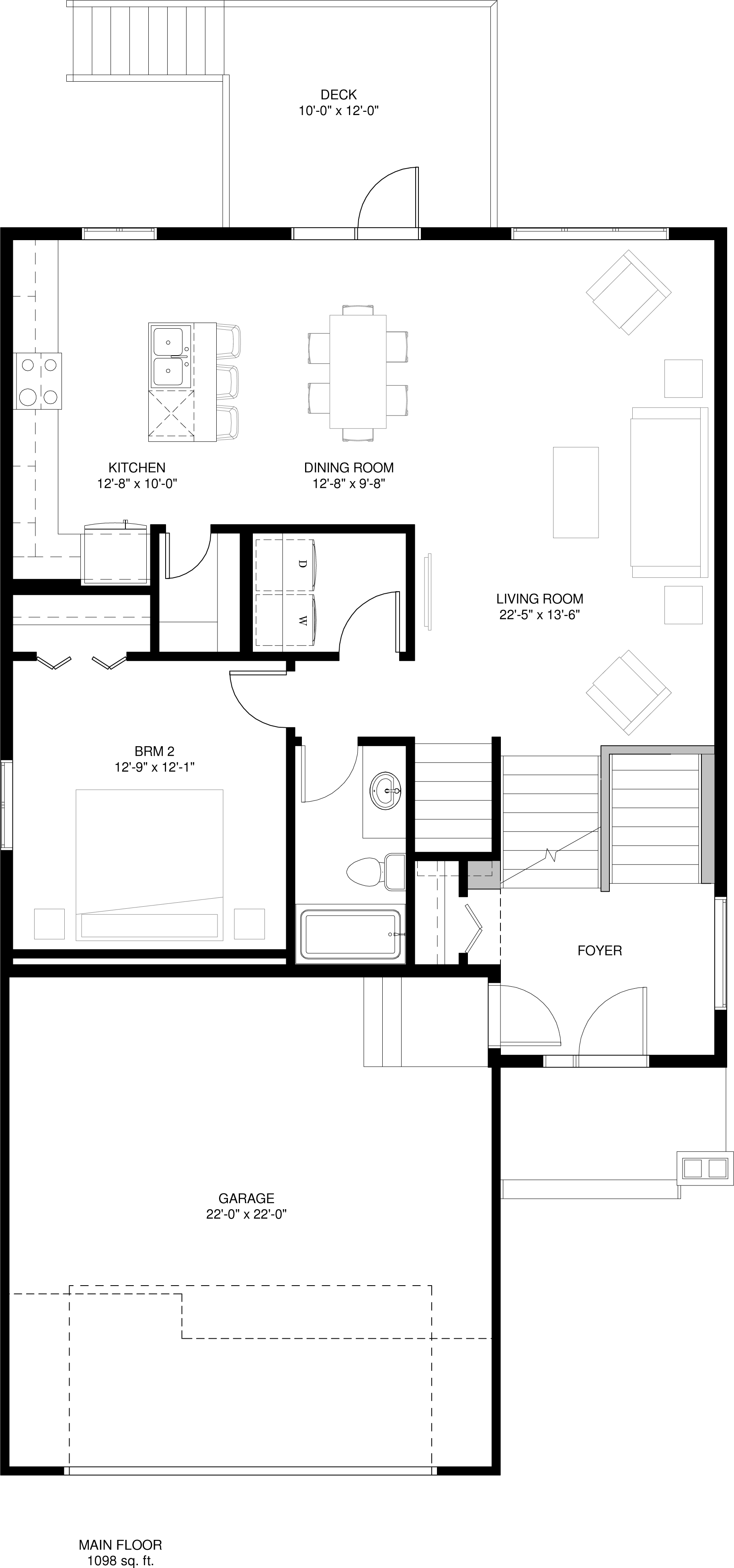 Optional Main Floor  - 2 bedrooms + Laundry Room 1098 sq ft