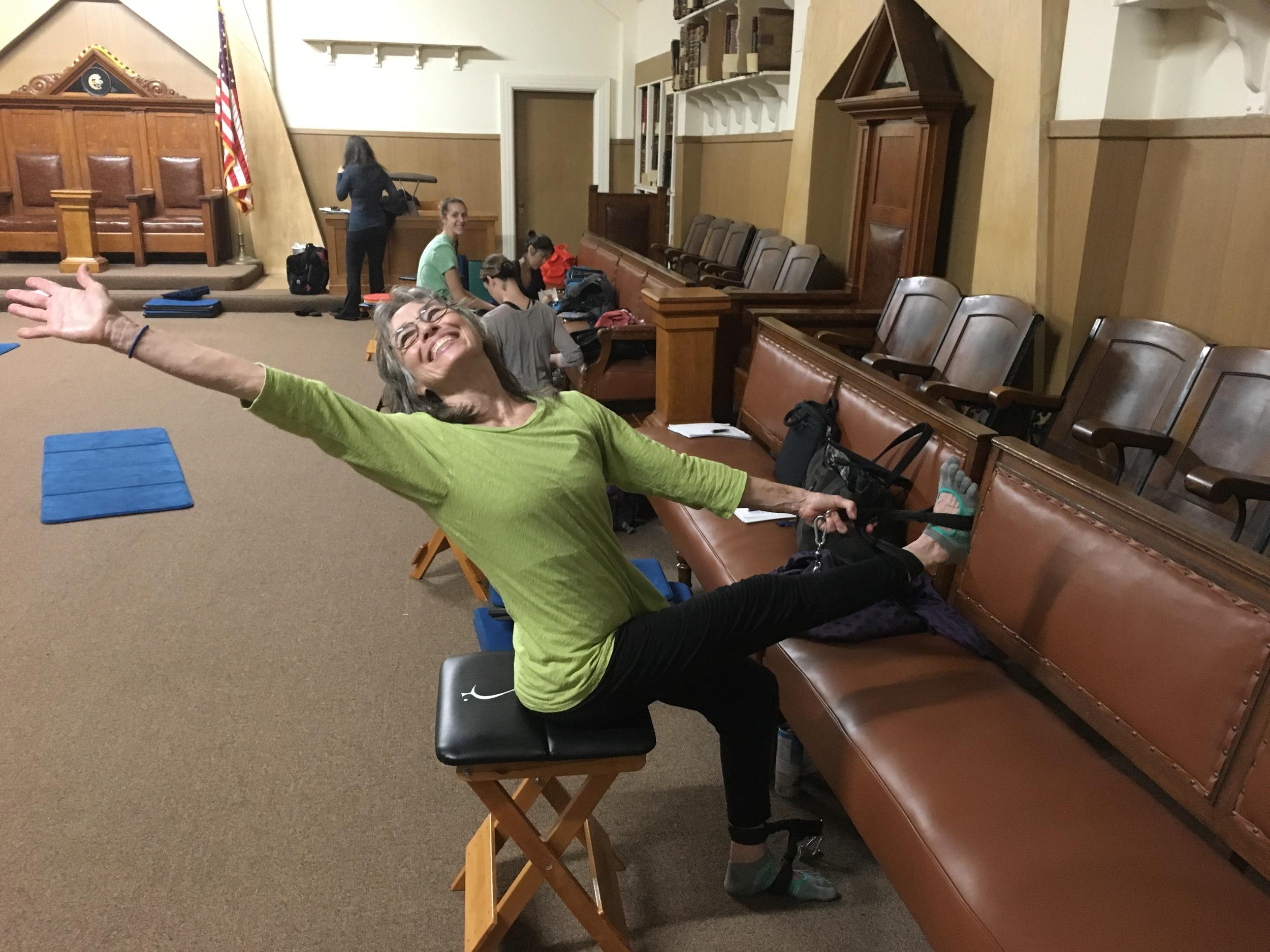 Jane Villarreal enjoying her seated work