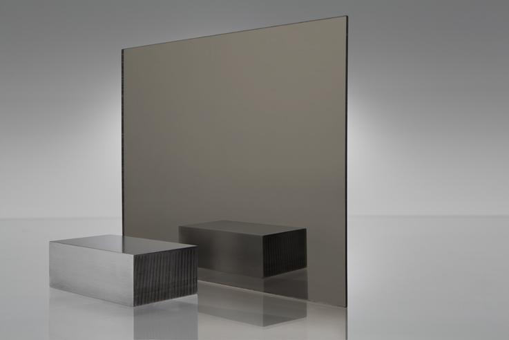 Bronze Coloured Acrylic Mirror ( http://www.plaskolite.com/ProductCatalog/FABBACK-Colored-Acrylic-Mirror )