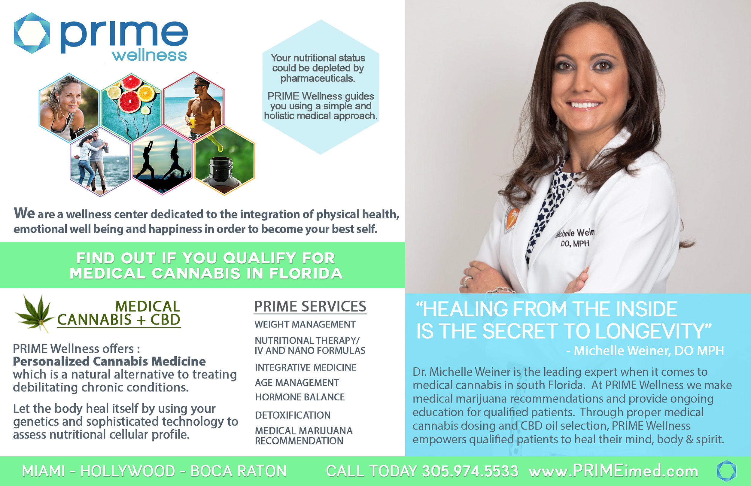 Client: Prime Wellness   Miami based doctor. Design.  Our creative and content team designed a fun and educational piece for print.