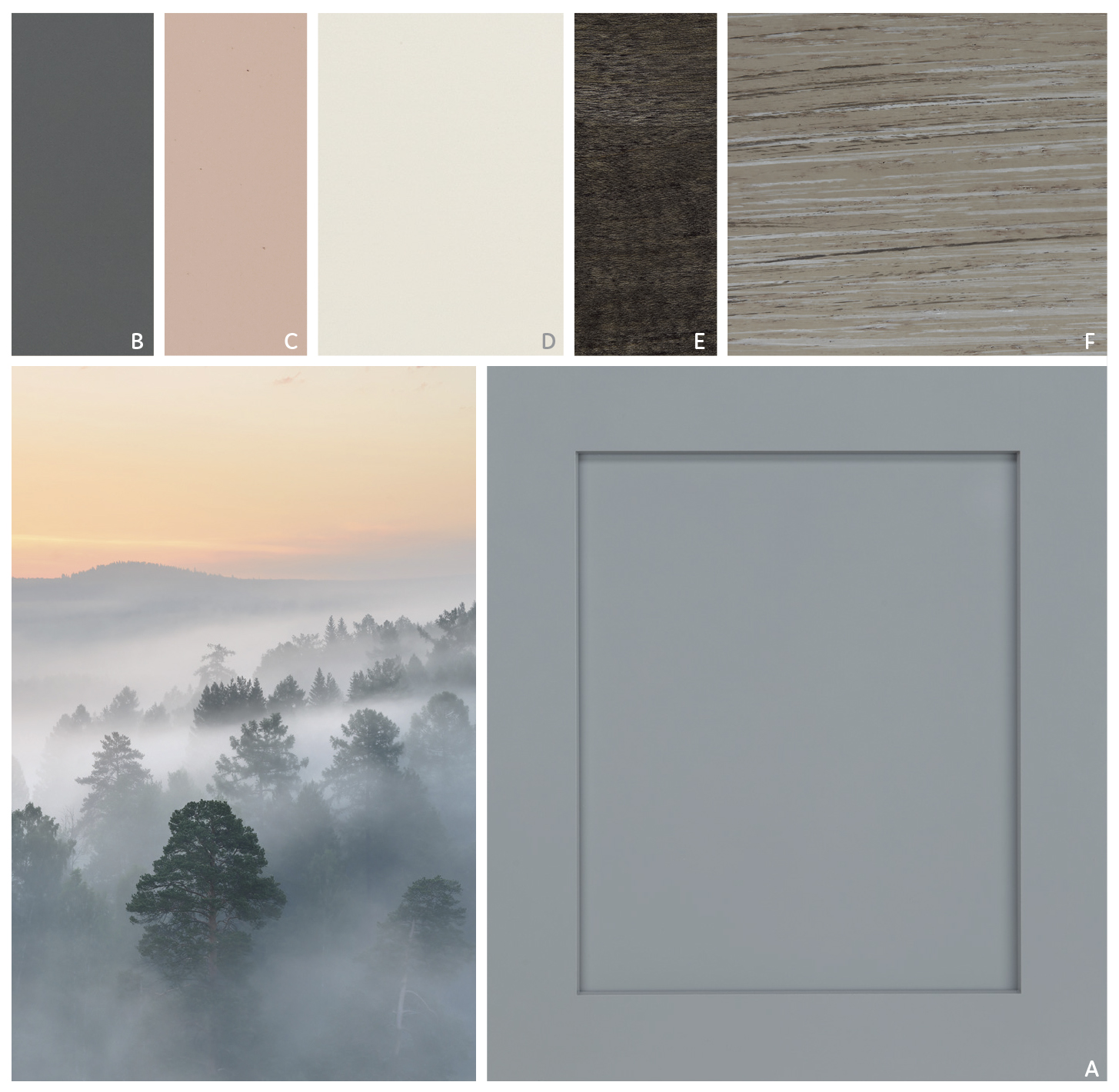 MISTY MORNING   Subdued tones of pale blue Dusk and Perfect Storm swirled with touches of rose and cream create a mysterious yet restful atmosphere. Add dimensional texture and depth with Greystone or Smoke.   FEATURE  | A Dusk   CABINET PALETTE  | B Perfect Storm, C Blush, D White Chocolate, E Smoke, F Greystone