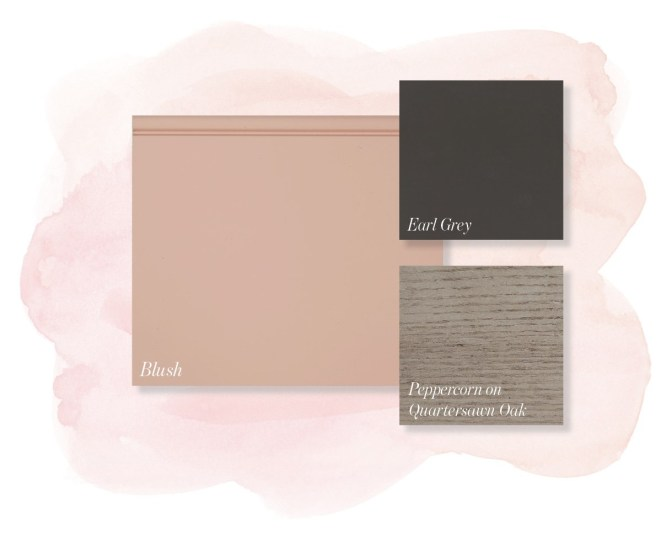 Blush pink, striking gray and soft gray tones make for a more modern palette.