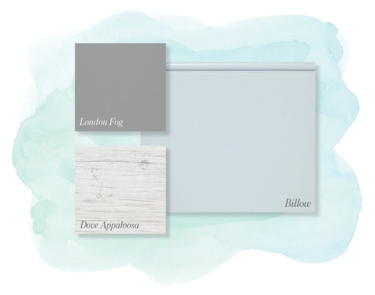 Pale blue, soft gray and weathered white cabinetry blend.