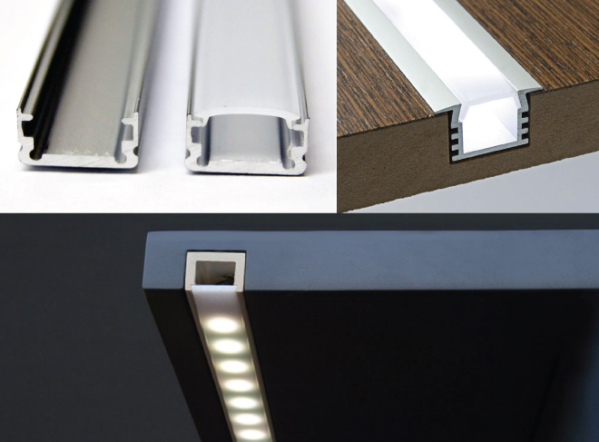 LED strip light channels (also called profiles, extrusions, or channel guides) as they help to diffuse the light and offer a more polished, professional look to your under-cabinet lighting. These channels come in a variety of shapes and sizes depending on your personal preference.