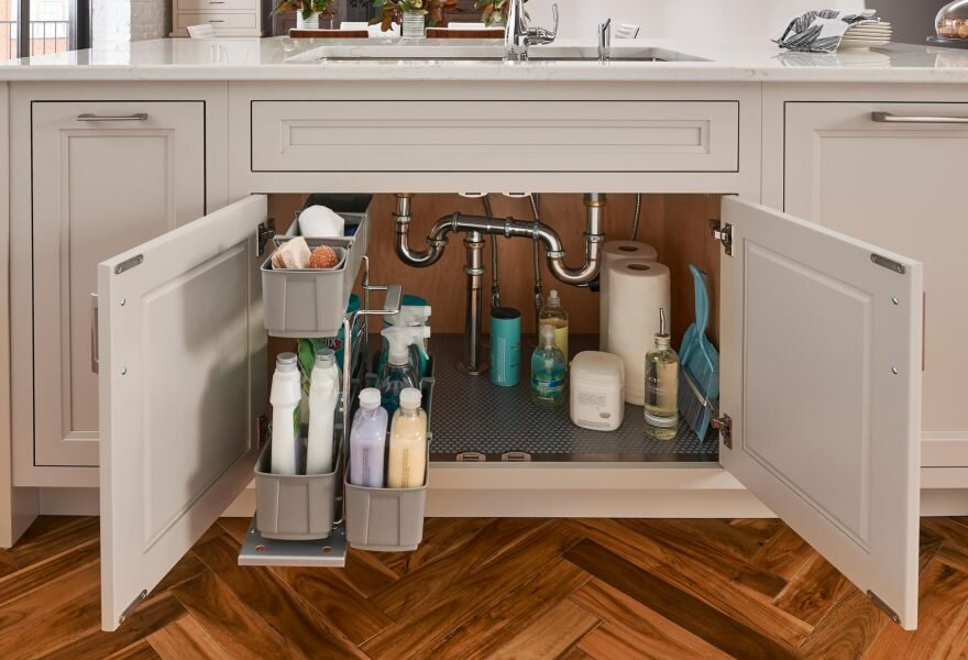 Sink Caddy   Make the most of your sink cabinet and add a spill mat and a pullout sink caddy. Make clean up a breeze.
