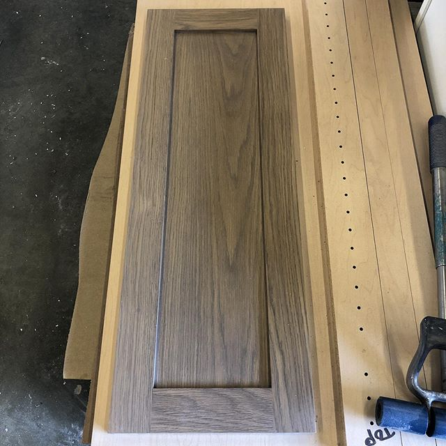 Experimenting with a scrap door. White oak door with a #matte finish. . . #nativeoakcabinets #custom #cabinets #kitchendesign