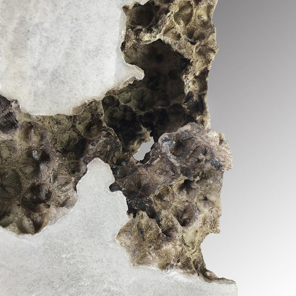 Traces x  - 50cm x 18cm x 18cm - concrete on eucalyptus wood base