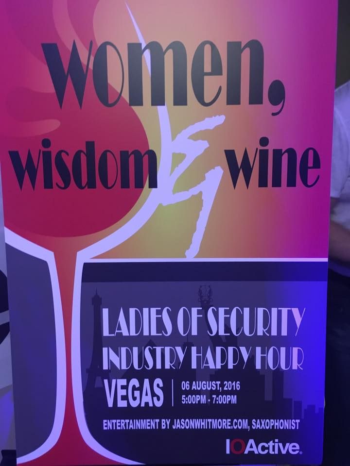 The Women, Wisdom & Wine Happy Hour event, hosted by IOActive on August 6th, 2016.