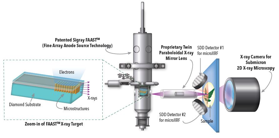 Patented AttoMap system comprised of a patented x-ray source and x-ray optic for high throughput trace element mapping