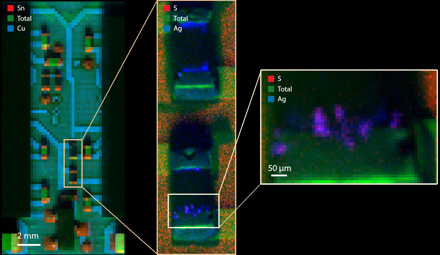 Contaminants and Particle Migration - Migration of elements can affect device performance. The AttoMap enables microns-scale, sub-ppm quantification for spatially resolved elemental distribution.