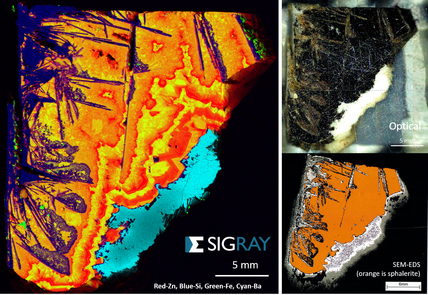 Mineralogy for Mining & Oil and Gas - Measurements and elemental imaging to determine co-location of trace-level minerals and rare earth elements at ppm-scale is possible at microns-scale