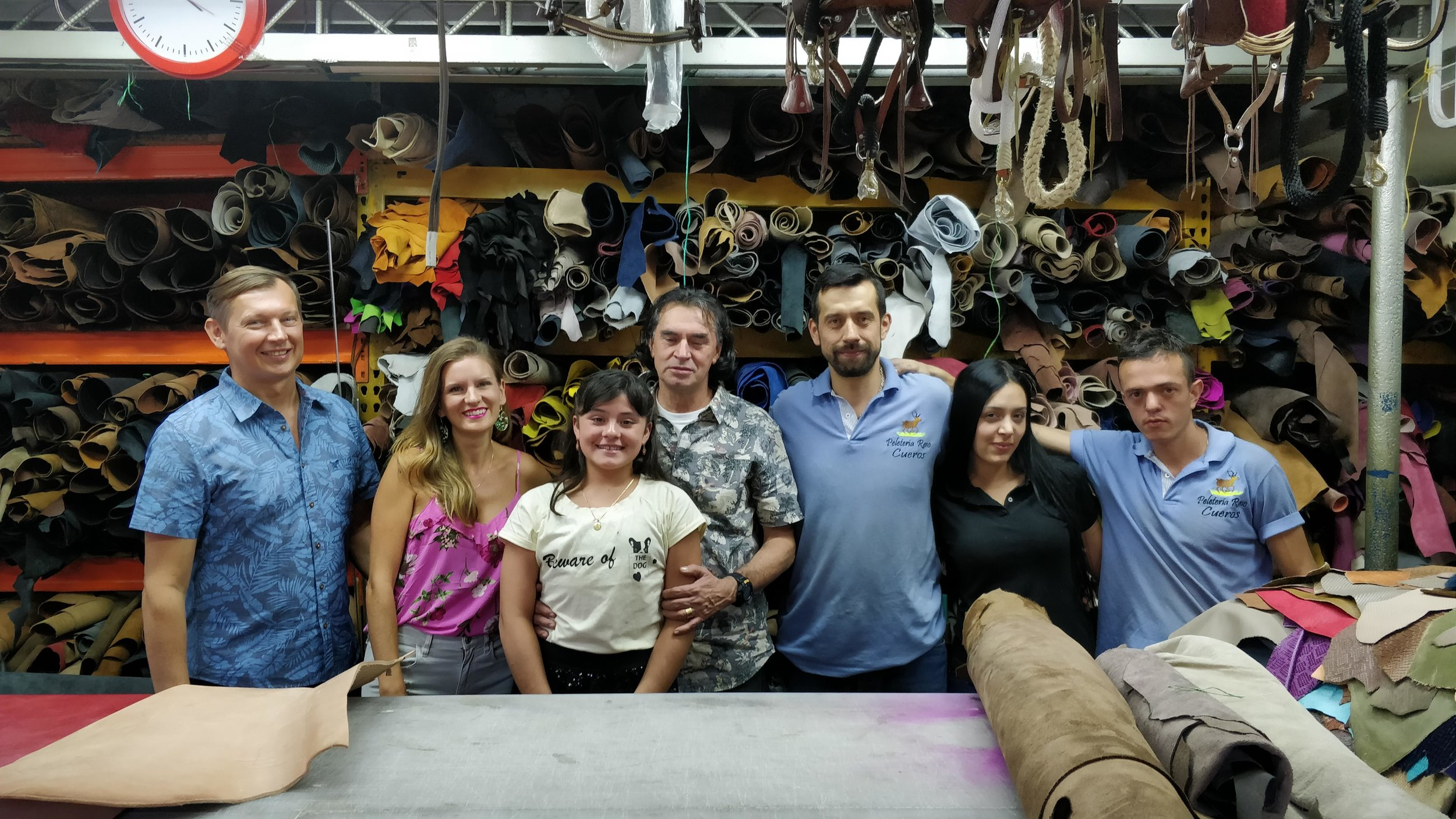 Post filming with the local leather shop we use for our mochila bags. -
