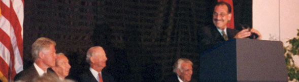 Ambassador Gabriel in Morocco with President Bill Clinton, then-Secretary of State Warren Christopher, James Baker, former Congressman Ben Gilman