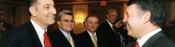Ambassador Gabriel with King Abdullah during the king's annual visit with key Arab Americans