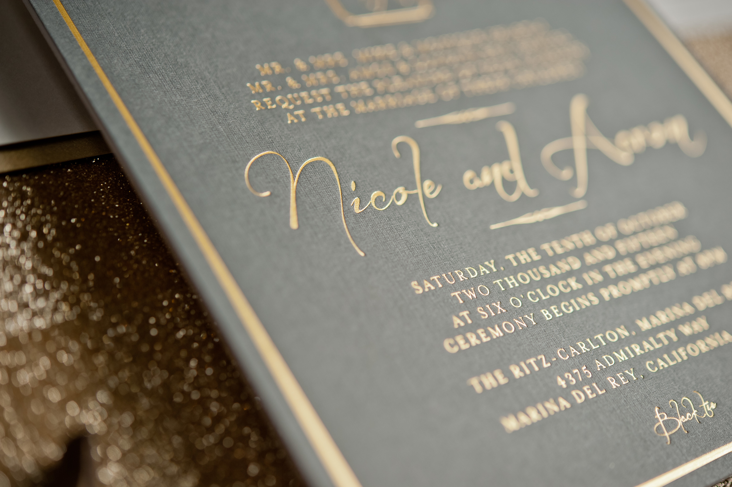 copperwillow.com | Chic Grey and Gold Wedding Invitation Suite | Stationery and Invitations for Weddings by Copper Willow Paper Studio