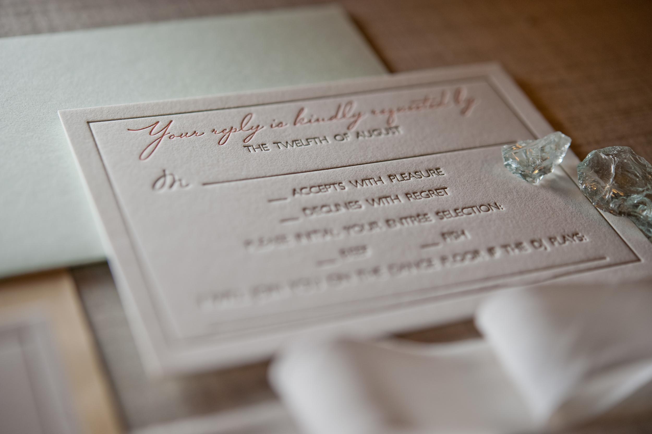 copperwillow.com | Seaglass and Coral Wedding Invitations | Aqua and Peach Wedding Stationery | Copper Willow Paper Studio