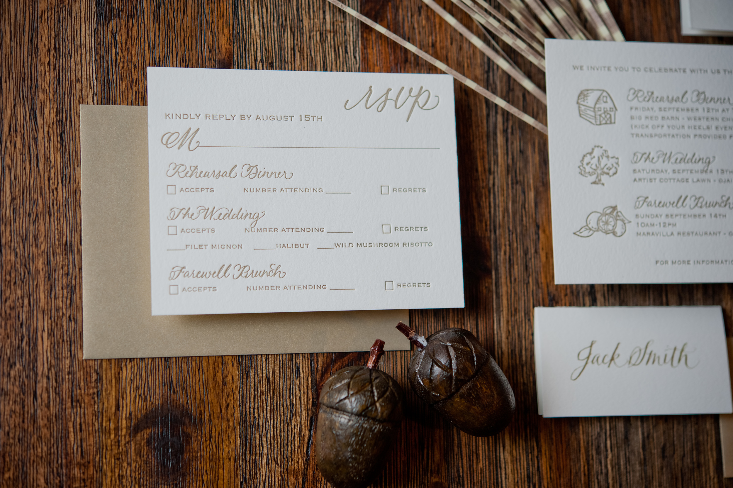 copperwillow.com   Hand Drawn Wedding Invitations   Oak Wedding Stationery   Copper Willow Paper Studio   Brown and Ivory Wedding Invites