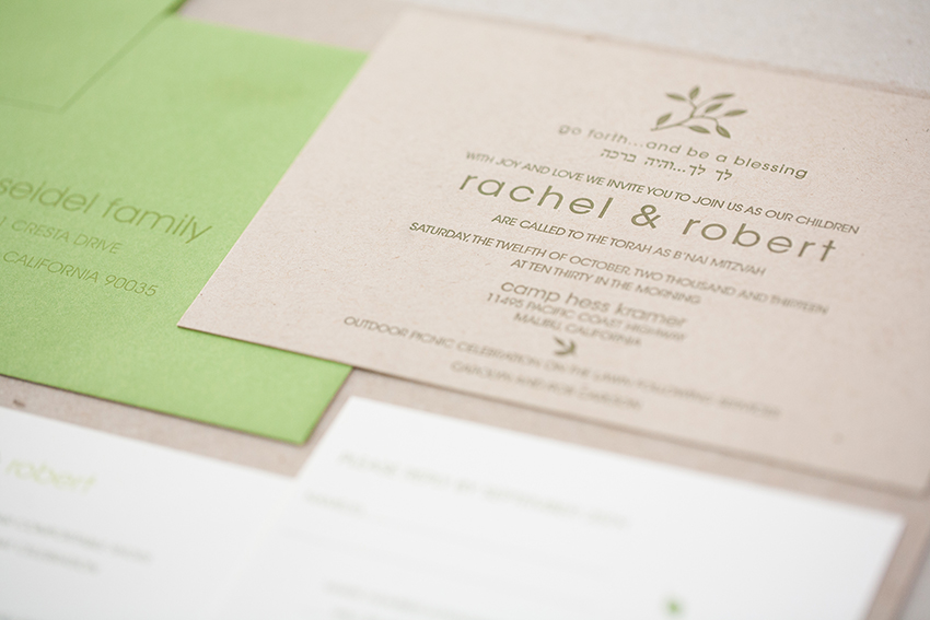copperwillow.com | Bar and Bat Mitzvah Invitations by Copper Willow Paper Studio | Letterpress Celebration Stationery