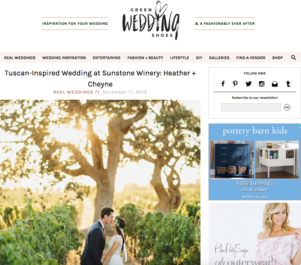 Copper Willow Paper Studio Featured on Green Wedding Shoes | Sunstone Winery Villa Wedding