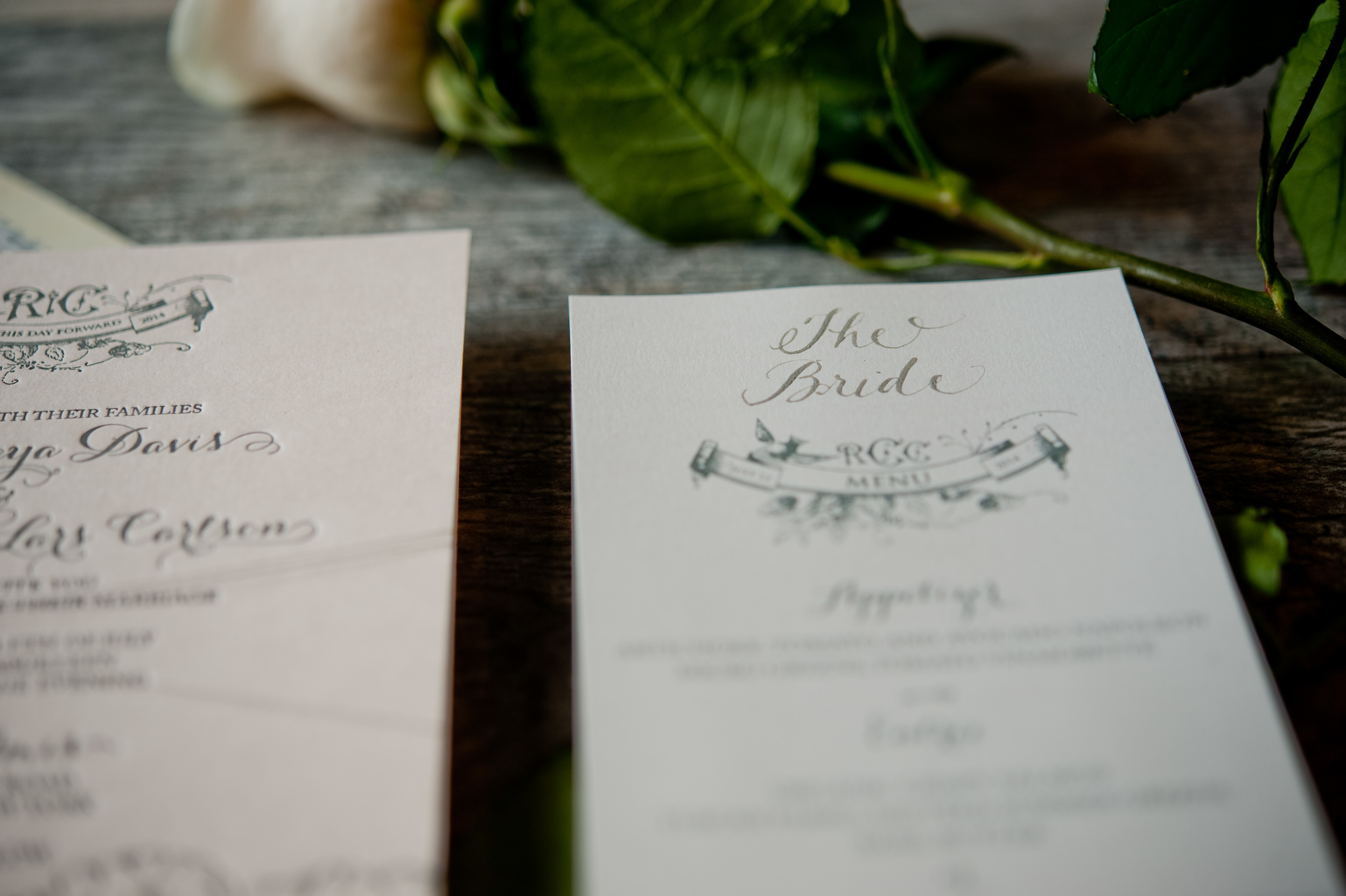 copperwillow.com   Rose Garden Themed Wedding Invitations   Copper Willow Paper Studio   Grey and Blush Wedding Invites