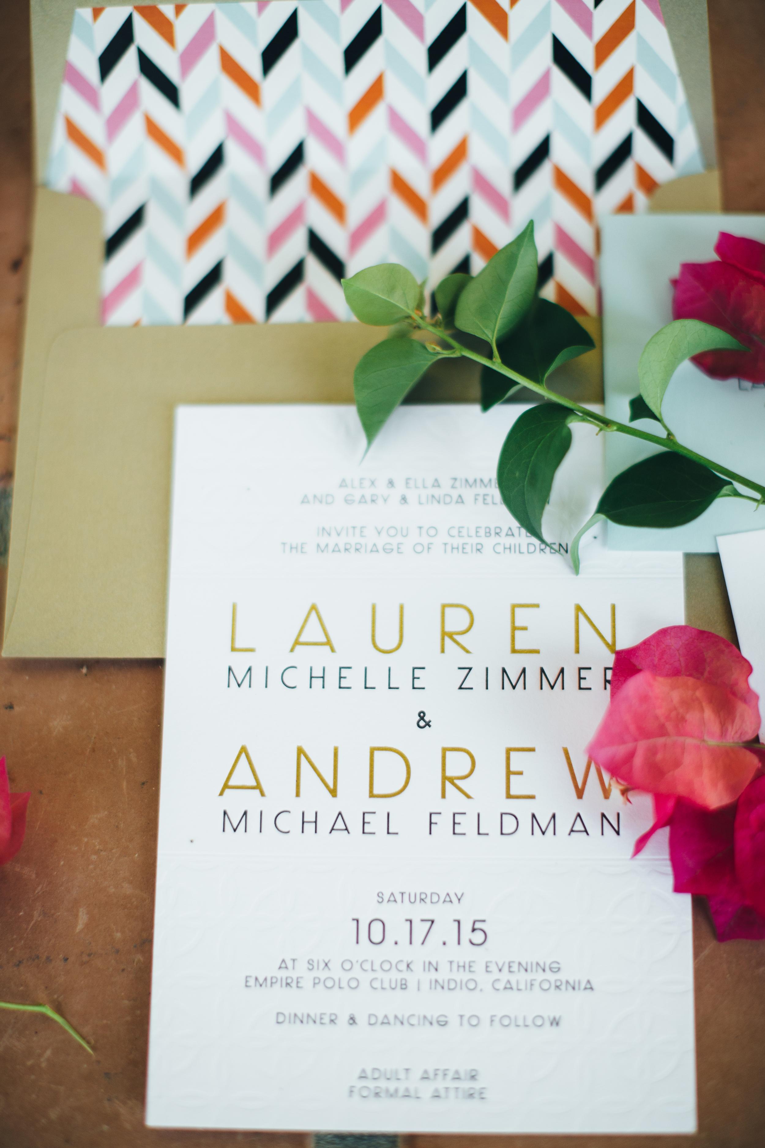 Geometric Wedding Invitations by Copper Willow Paper Studio