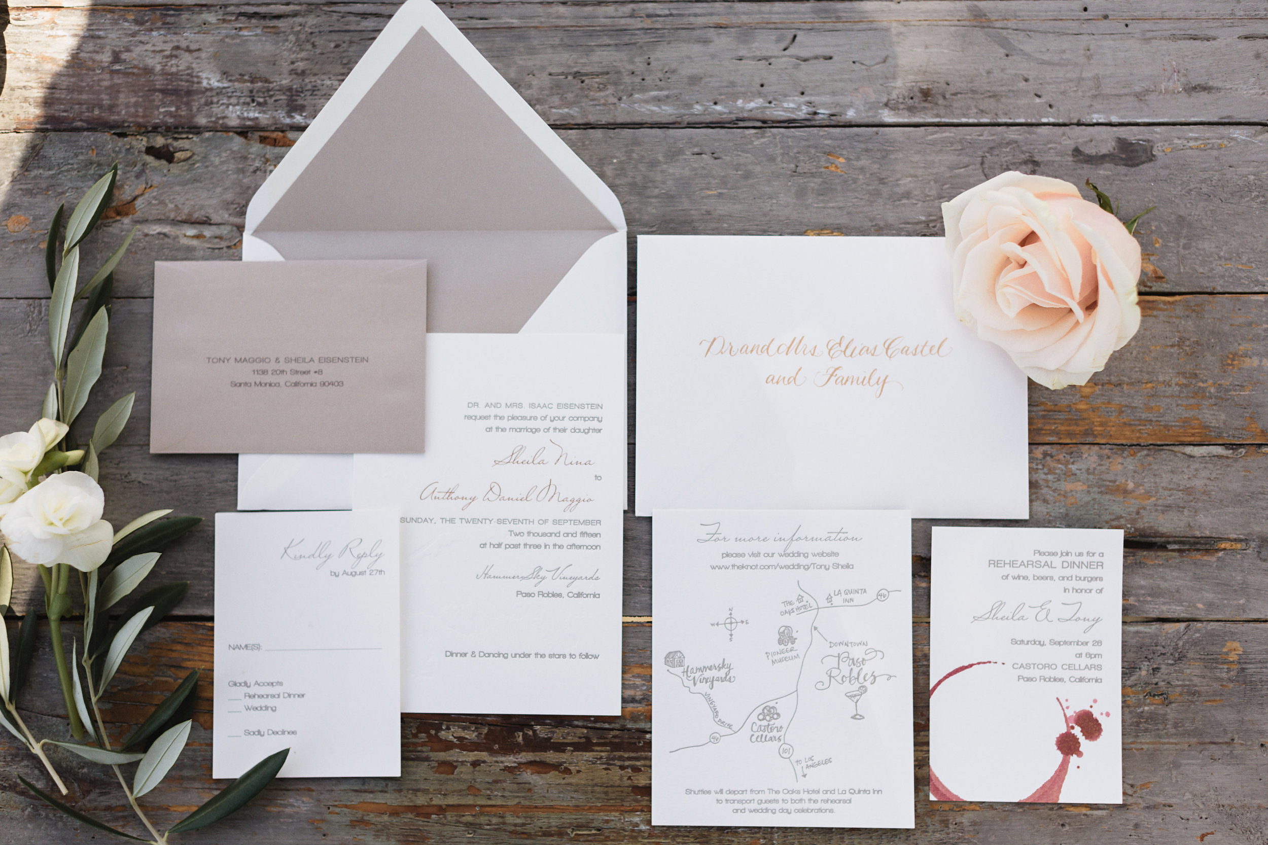 copperwillow.com | Hammersky Vineyards Wedding | Letterpress Vineyard Invitation