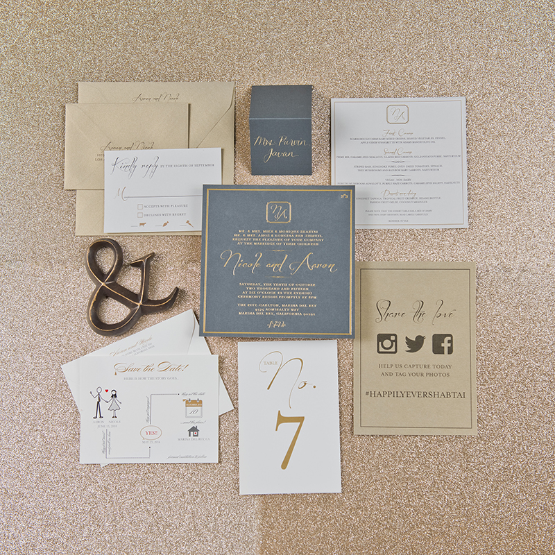 copperwillow.com | dramatic gray & gold foil invitation | juan turcios photography