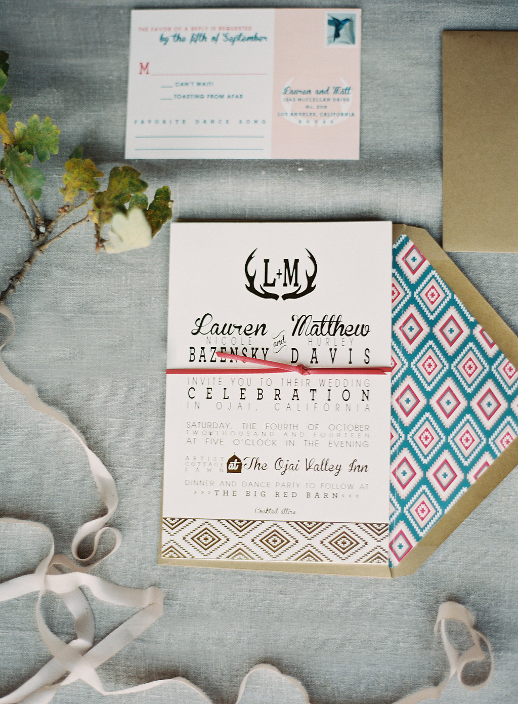 copperwillow.com | gold foil invitations | ojai valley inn & spa