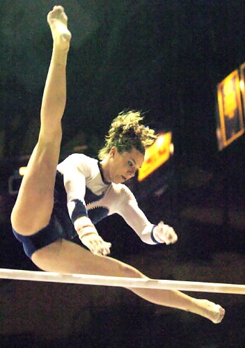 The only surviving acrobatic shot from my Cal gym days: wish it was from a different angle.