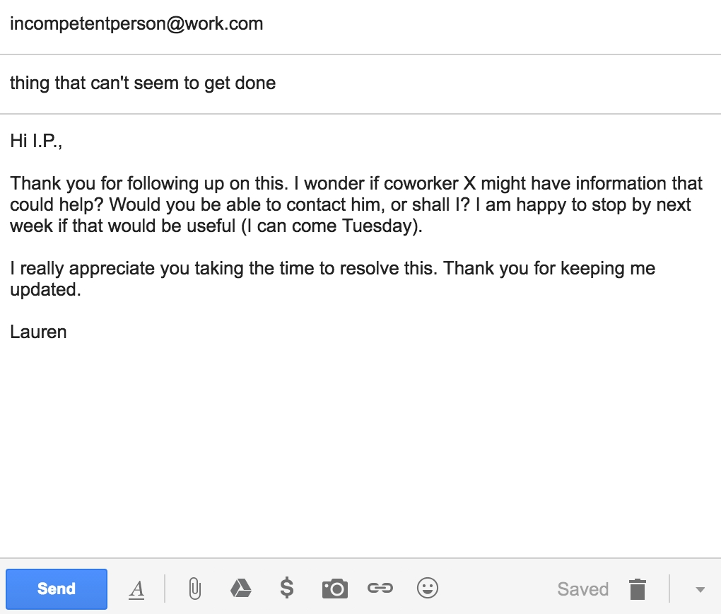 A polite email with softening language and concrete, productive suggestions.
