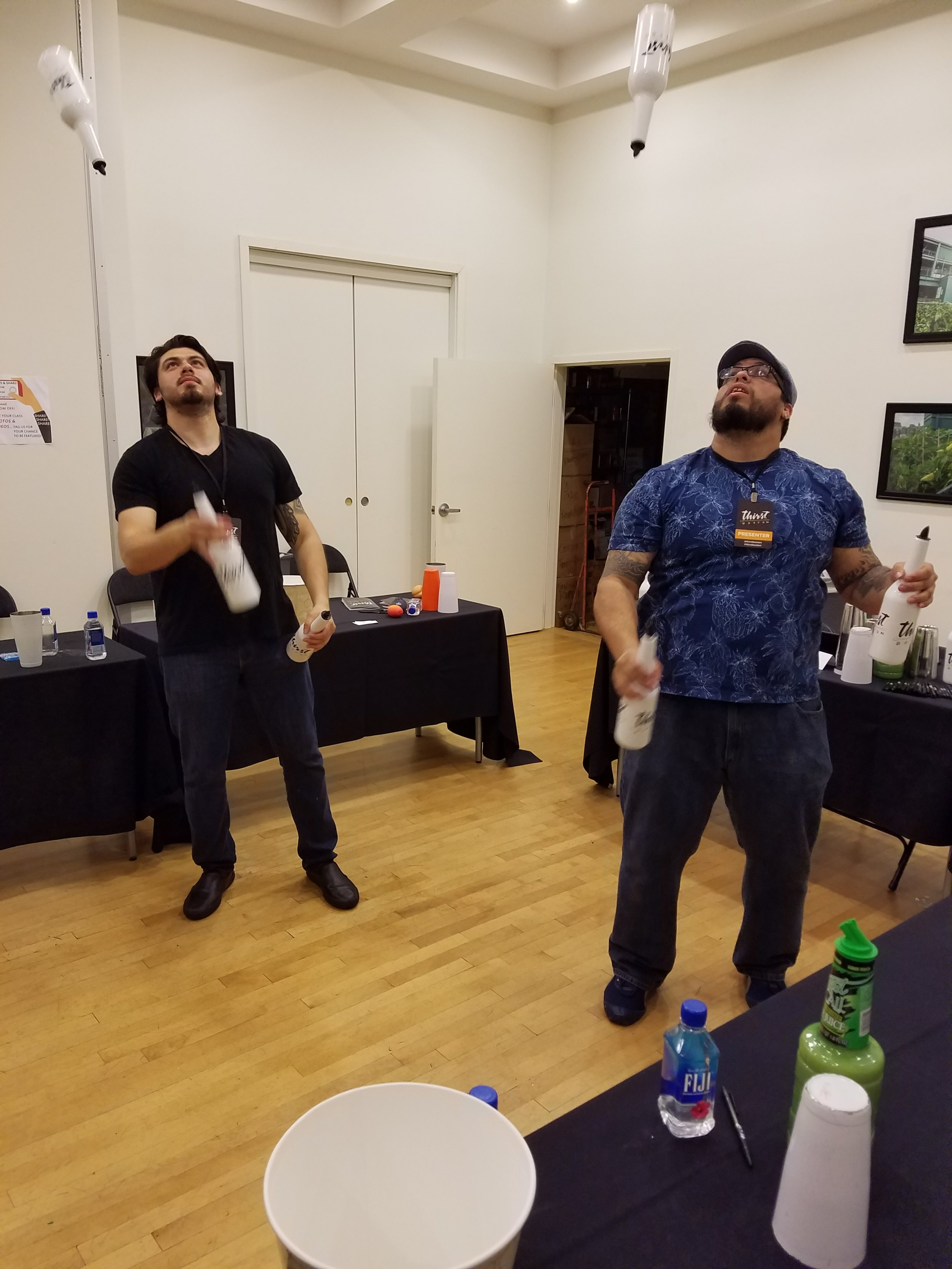 The family that juggles together....Will and Moe Isaza teach functional flair. Eat your heart out, Tom Cruise.