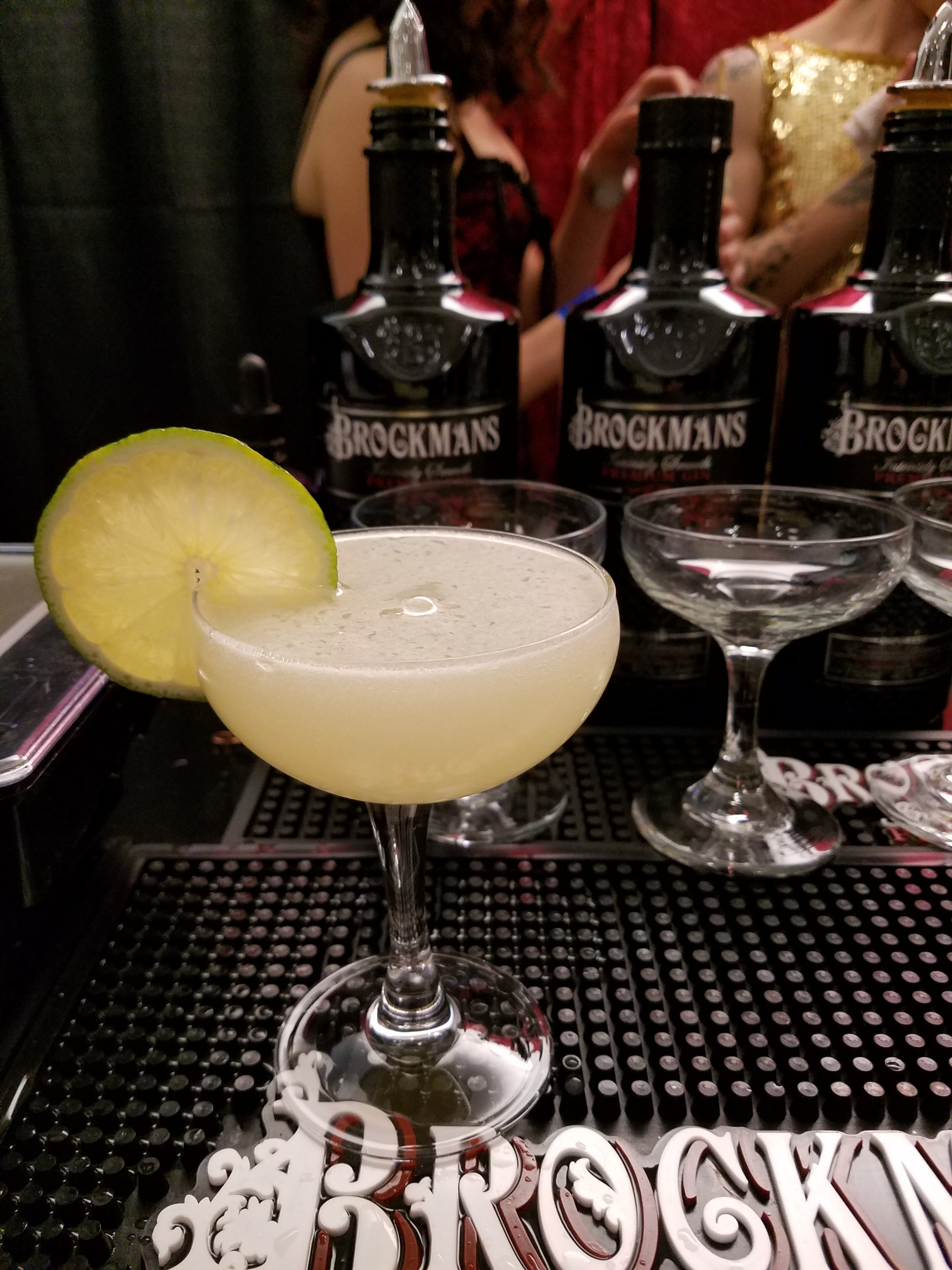 Don't Tell Mama, made with Brockmans gin, dry curacao, ginger liqueur, lime, and bitters, at State Lines.