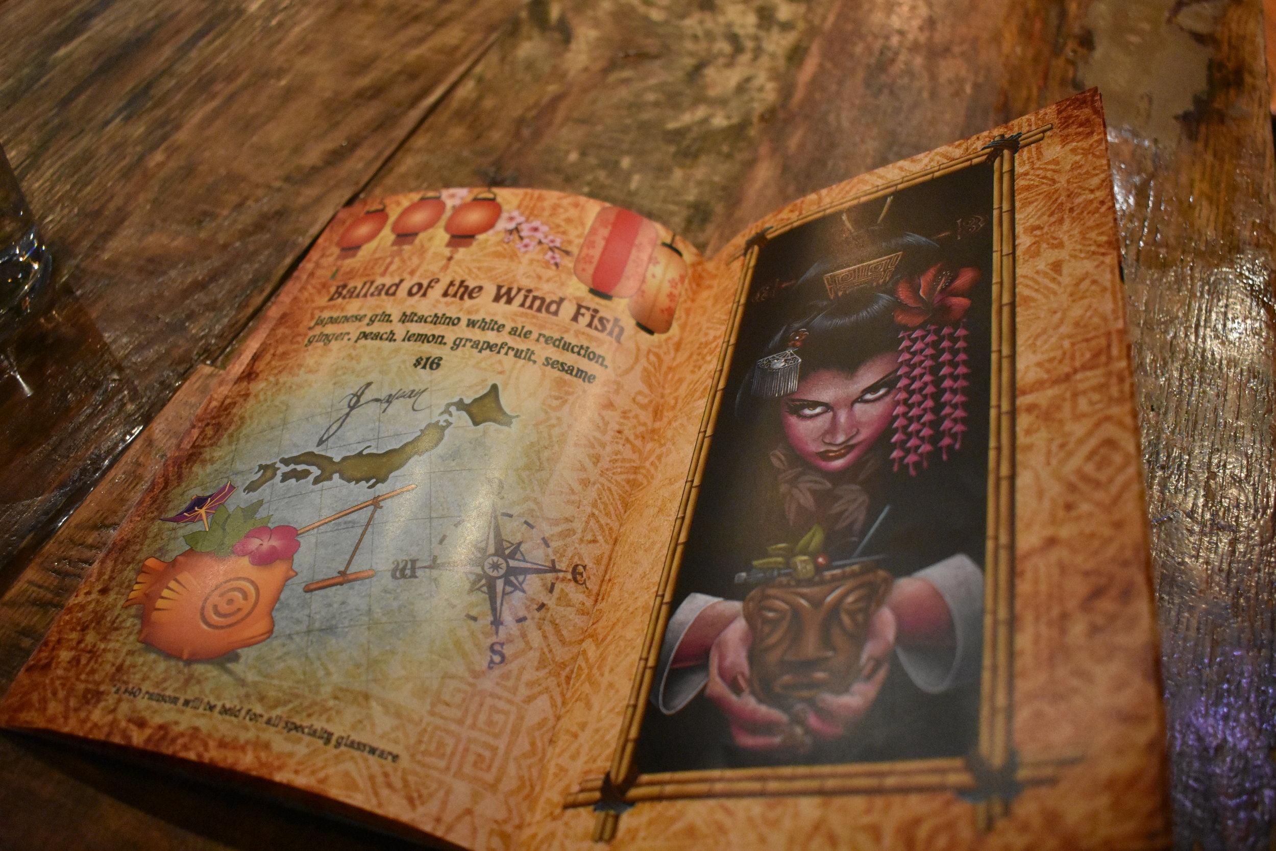 Tiger Mama's beautiful tiki menu, designed by California artist Doug Horne.