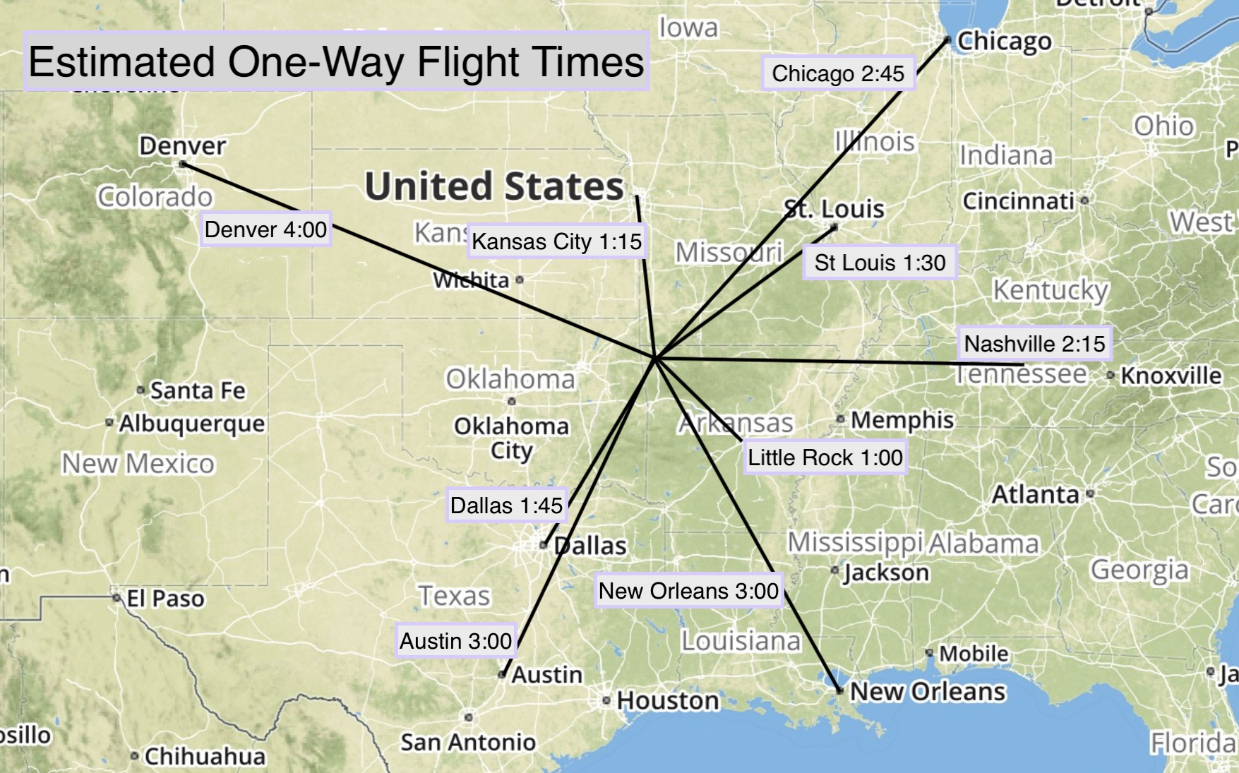 All flight times are estimated and can vary due to weather conditions and weight carried
