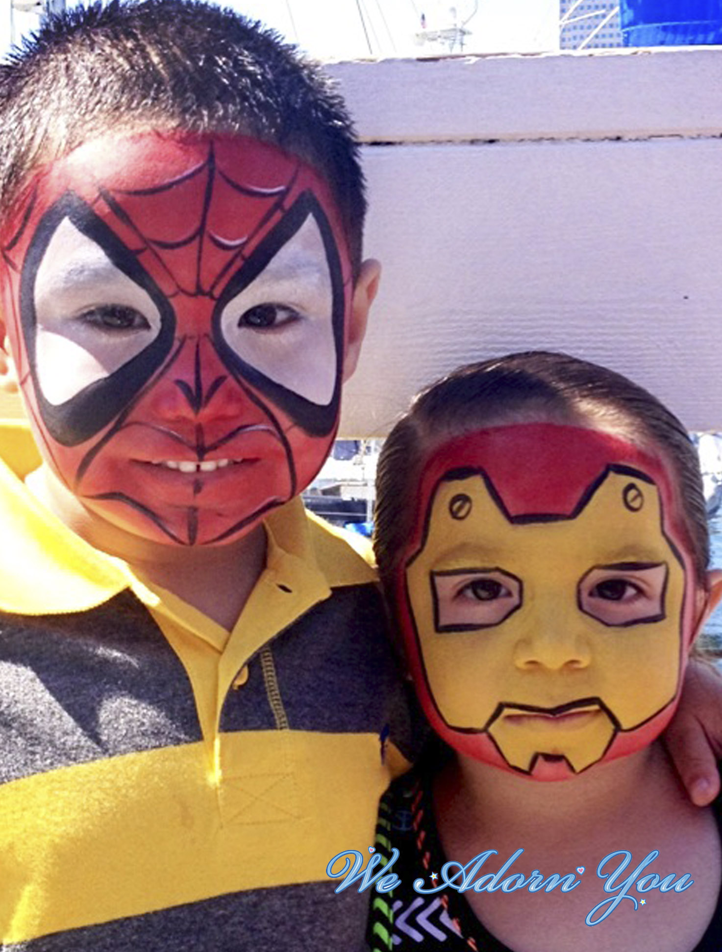 Face Painting Spiderman and Ironman- We Adorn You.jpg