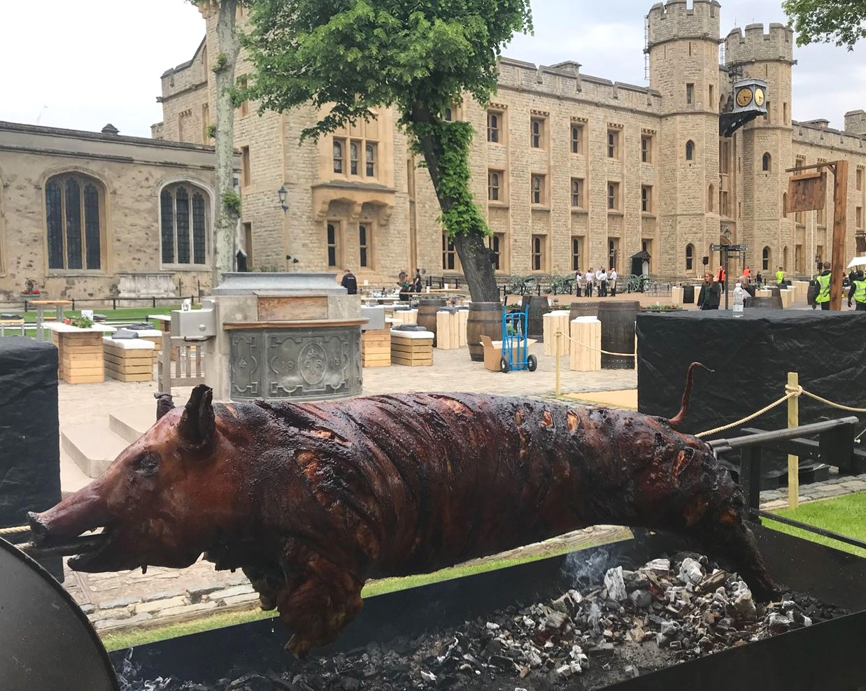 Fabulous BBQ become the first caterer to cook whole hogs within The Tower of London