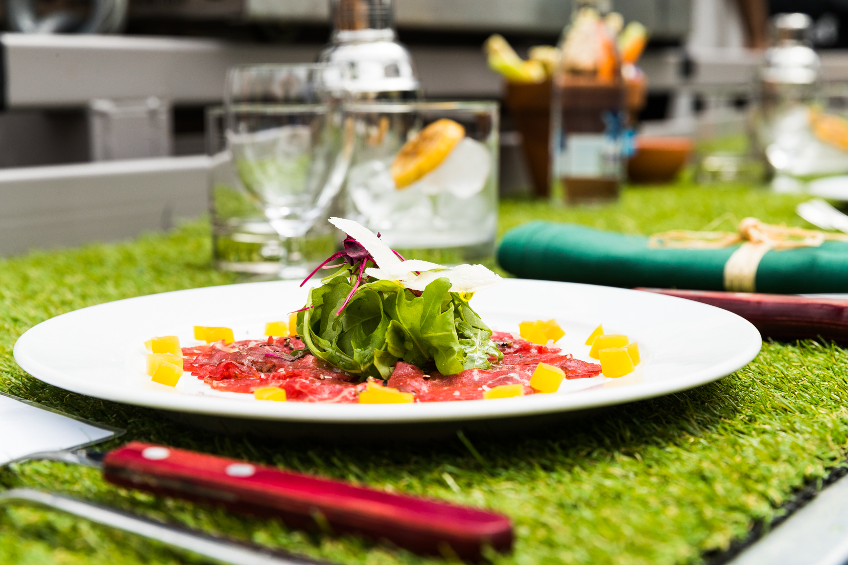 Our starter of Carpaccio of beef welcomed guests onto the platform
