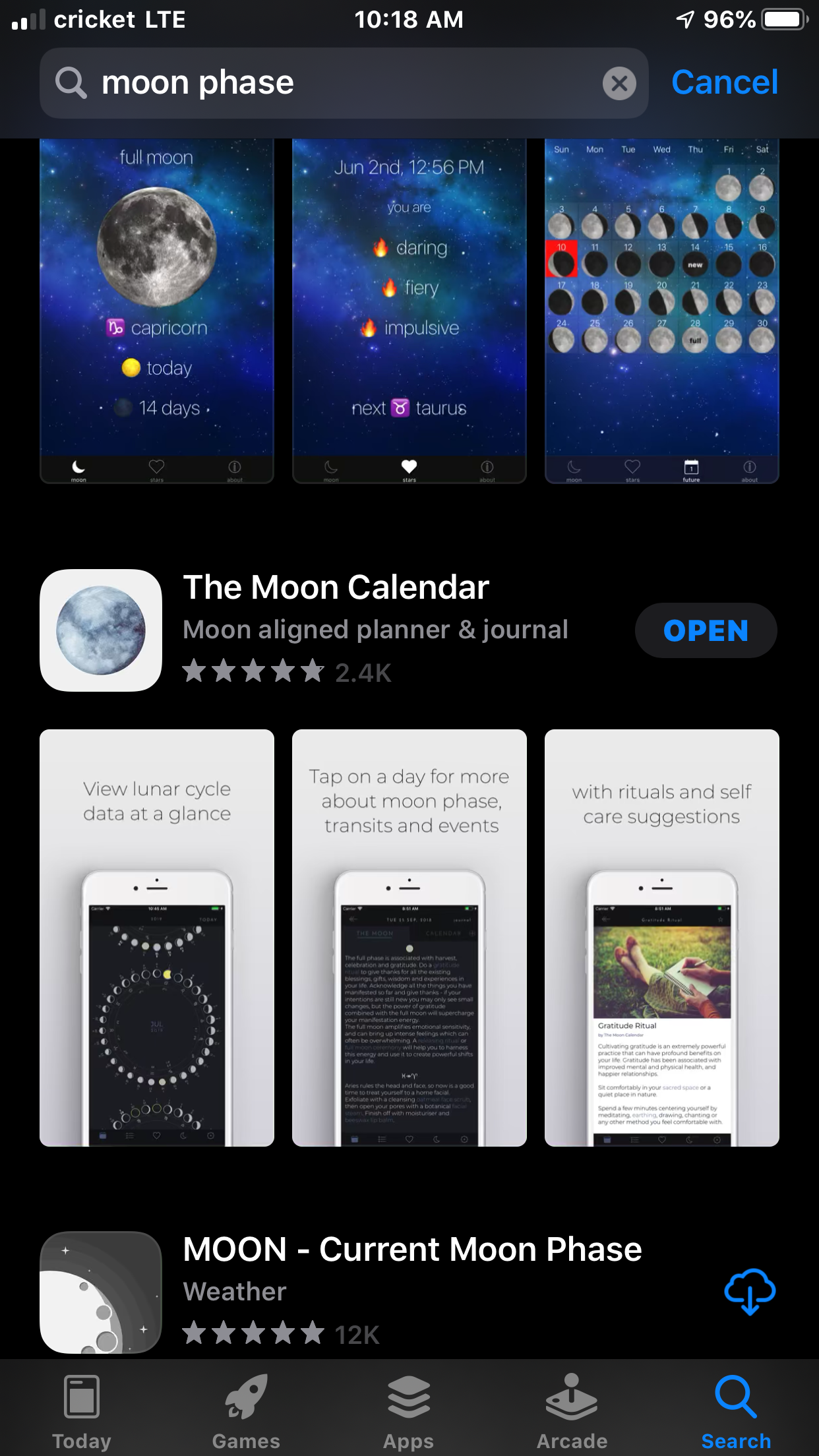 Moon app in app store.PNG