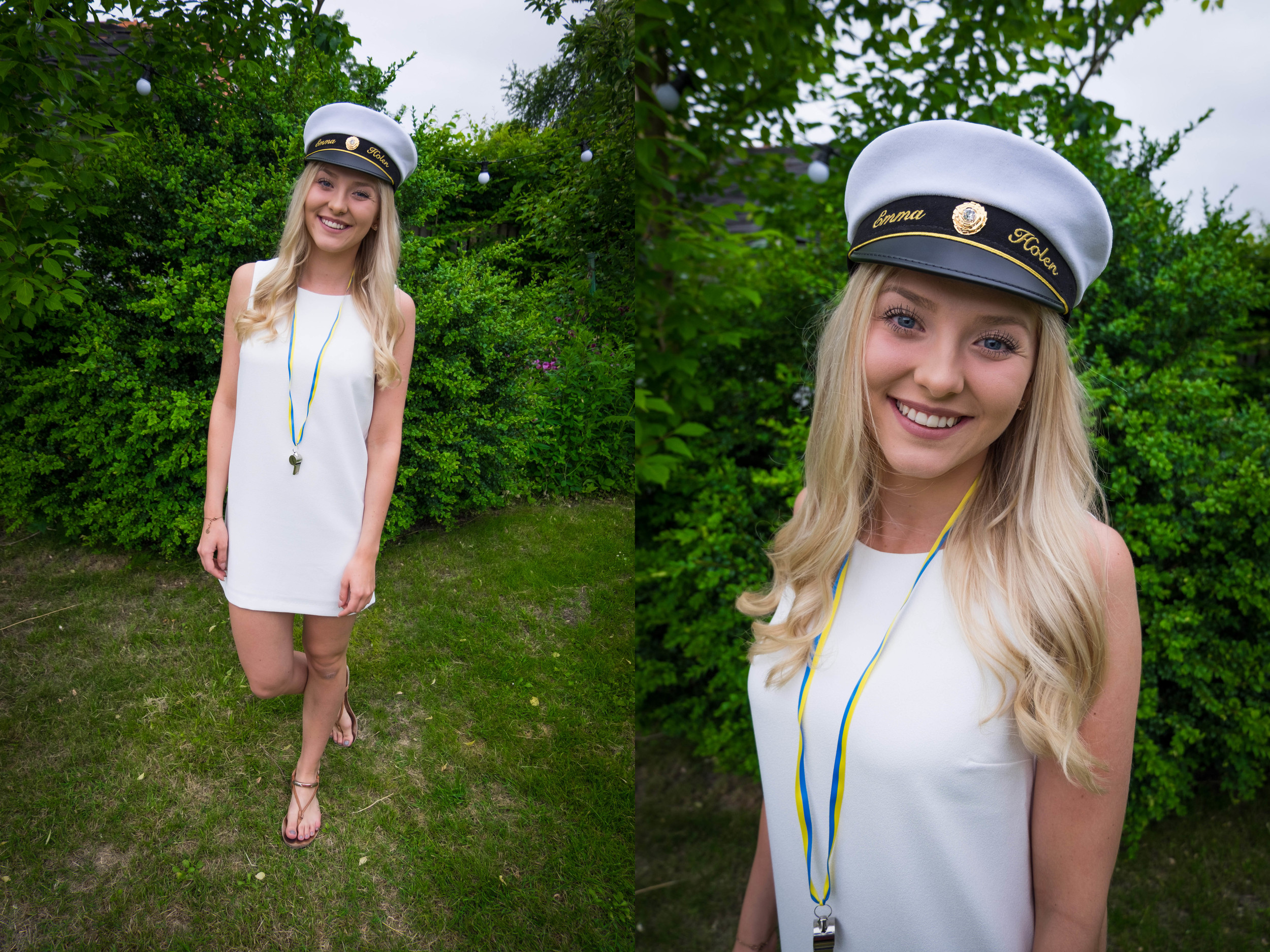 How pretty is this girl?? We took these pictures before she headed out for champagne breakfast with her classmates. In Sweden you wear white for your high-school graduation along with these hats. Of course you also have a whistle so you can be heard!