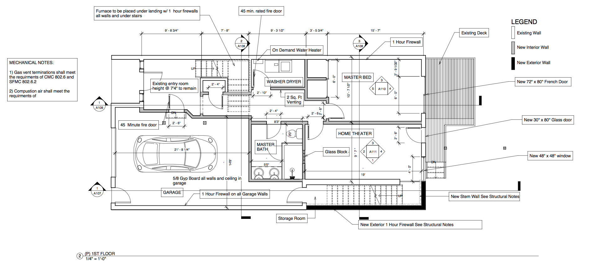 Construction document format with dimensions and building information